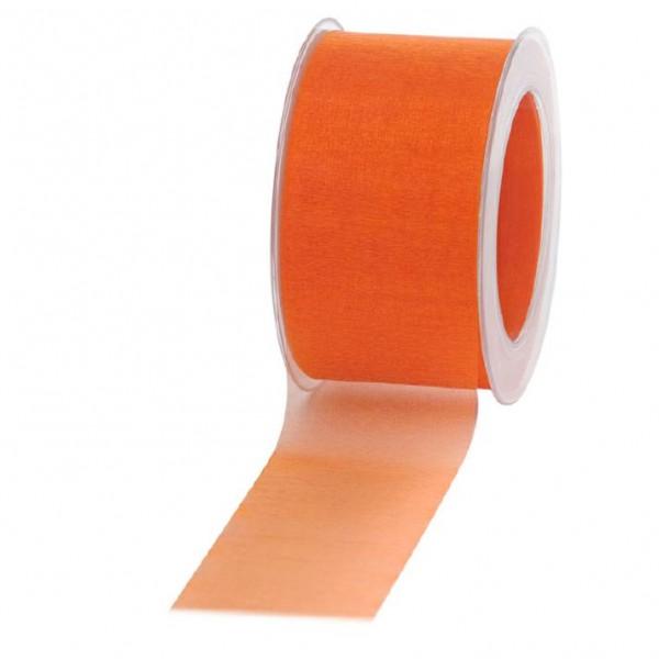 Geschenkband Chiffon 60mm/50Meter orange