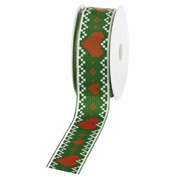 """Geschenkband """"Strick Herz"""" grün 40mm 20m"""